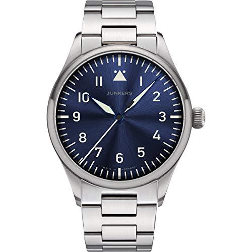 Junkers Baumuster Analog Quarz Uhr Edelstahlarmband Saphirglas blau 9.20.01.01.M