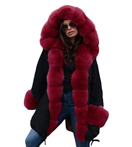 ORANDESIGNE Femmes Hiver Chaud épais Fausse Fourrure Manteaux à Capuche Veste Jacket Manches Longues Parka Veste Longue Taille 01 Noir-Rouge Small