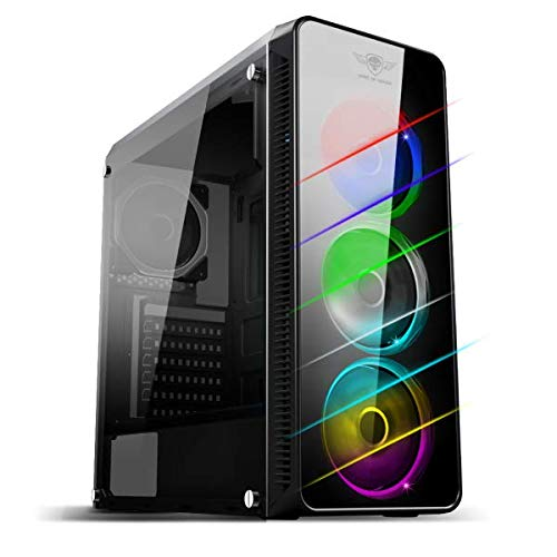 Spirit of Gamer DeATHMATCH 7: PC Tour Gaming ATX - mATX - Compatible con mITX / 4 Ventiladores Dual Ring retroiluminación LED 7 Colores a Elegir / Caja de Acero SPCC de 0,5 mm.