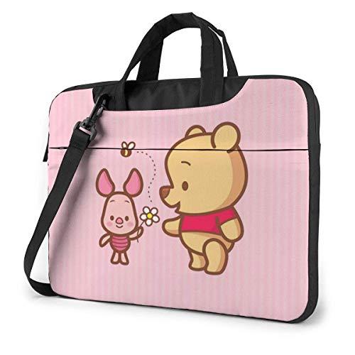15.6 Inch Laptop Bag Pink Winnie The Pooh Laptop Briefcase Shoulder Messenger Bag Case Sleeve