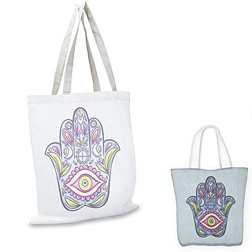 nurse tote bag Evil Eye Doodle Hamsa Hand Symbol Traditional All Seeing Eye Positive Colorful Pale Blue Pink Green tote bag with zipper