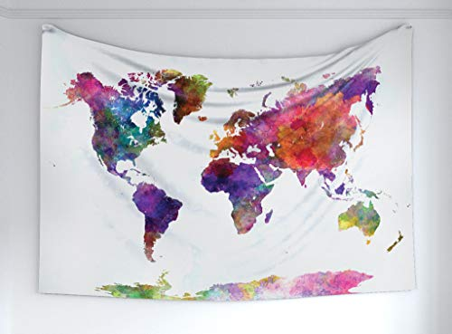 Ambesonne Watercolor Tapestry, Multicolored Hand Drawn World Map Asia Europe Africa America Geography Print, Fabric Wall Hanging Decor for Bedroom Living Room Dorm, 60' X 40', Gray Purple