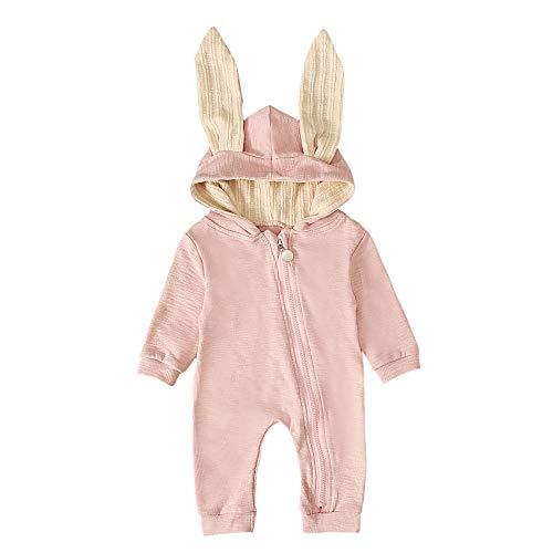 T TALENTBABY Neugeborenes Baby Jungen Mädchen Kaninchen 3D Ohr Mit Kapuze Reißverschluss Strampler Herbst Winter Unisex Baby Warme Body Overall Outfits Kleidung, Rosa, 0-3 Monate
