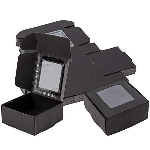 BENECREAT 30 Pack Caja Negra de Cartón Plegable con Ventana Transparente 6.5x6.5x3cm...