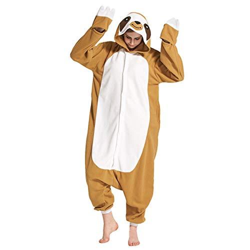 YFCH Pigiama Unicorno Kigurumi Animali Cosplay Uomo Donna Adulti Costume Tuta, Bradipo, S/150cm-158cm