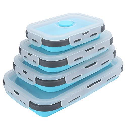 KUIDAMOS Fiambrera de Silicona Fiambrera Plegable fácil de Limpiar Conjunto Contenedor de Almacenamiento de Alimentos Contenedores de preparación de Comidas para refrigeradores de microondas