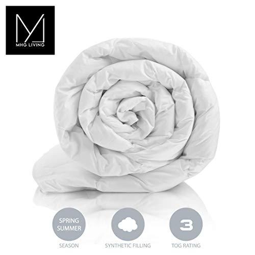 MHG Living Anti Allergenic Summer seasons Cool Duvet, Light Microfibre, Single Double King SuperKing, Wool Duvets alternative (3 Tog, Single)