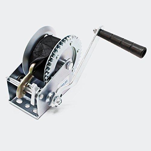 Cabrestante manual hasta 550kg con correa 7m 4:1:1 Polipasto manual Torno de cable...