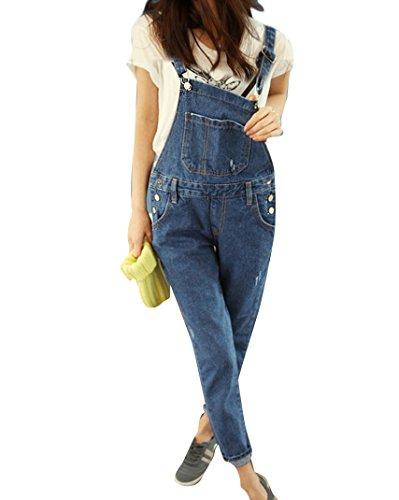 Qitun Damen Jumpsuit Jeans Overall Hosenanzug Hose Jeans-Latzhose mit Brusttasche M