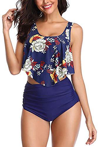 Adisputent Women's Two Piece Swimsuit Flounce Ruffles Swimwear Junior Vintage Bathing Suit High Waisted Bottom Bikini Set (Flower Navy,XL)