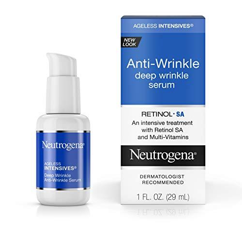 Neutrogena Ageless Intensives Anti-Wrinkle Retinol Serum, Deep Wrinkle Daily Serum with Retinol SA, Vitamin E, and Vitamin A, Anti-Wrinkle Serum Treatment, 1 fl. oz