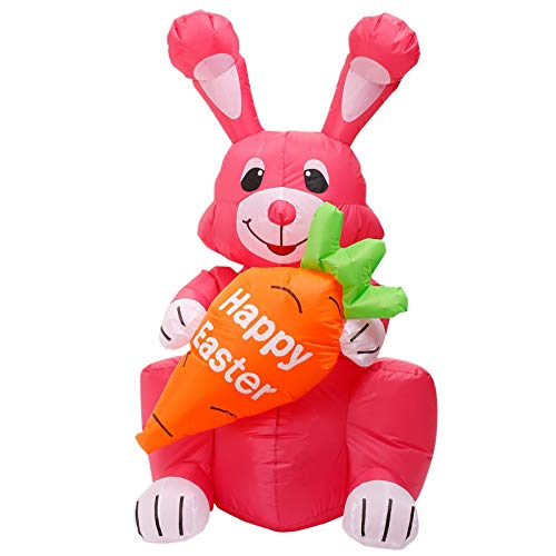 Thrivinger Easter Inflatable Pinky Bunny, 1.5M Inflatable Bunny Sitting, Easter Inflatables Bunny, Easter Outdoor Decoration with Build in LEDs, Blow up Indoor, Yard, Garden Lawn Decoration