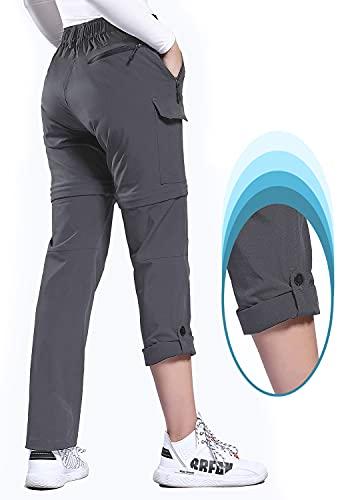 Hiauspor Women's Convertible Hiking Pants Lightweight Zip Off Pants Quick Dry Outdoor Stretch Pants UPF 50+(Grey,X-Large)