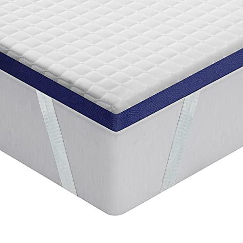 BedStory Topper Viscoelastico 90 x 190 cm con Gel Fresco Infundido, Sobrecolchón Ergonómico con Funda Extraíble y Lavable, Topper Colchón con Espuma de Memoria, Diseño ventilado