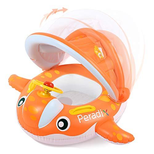 Peradix Flotador para bebé 6meses-3 Años Barco Inflable Flotador con Asiento Respaldo Techo Ajustable Juguetes de Desarrollo de Natación en Agua para Niños (Naranja)