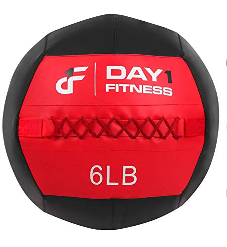 Day 1 Fitness Soft Wall Medicine Ball 6 Pounds - for Exercise, Physical Therapy, Rehab, Core Strength, Large Durable Balls for TRX, Floor Exercises, Stretching