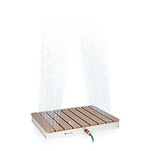 blumfeldt Sumatra Breeze SQ - Doccia da Giardino, Doccia da Pavimento, Doccia da Sauna, 70x55 cm, Altezza Spruzzo Fino a 4 m, Materiale: Alluminio/WPC, Superficie Antiscivolo, Effetto Legno