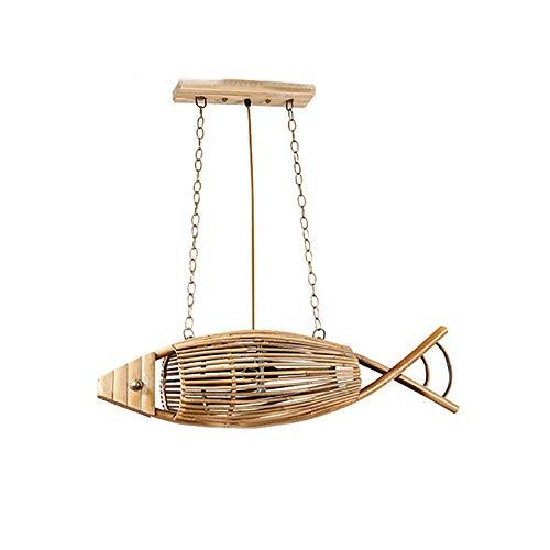 Hanglamp, modern creatief hanglampje met E27 lamphouder, houten vis kroonluchter plafondlamp voor slaapkamer woonkamer eetkamer