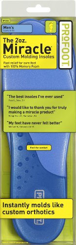PROFOOT Miracle Custom Molding Insoles, Men Size 8-13, 1 Pair (Pack of 3), Cushion & Comfort Achy, Painful Feet, Foam Shoe Inserts