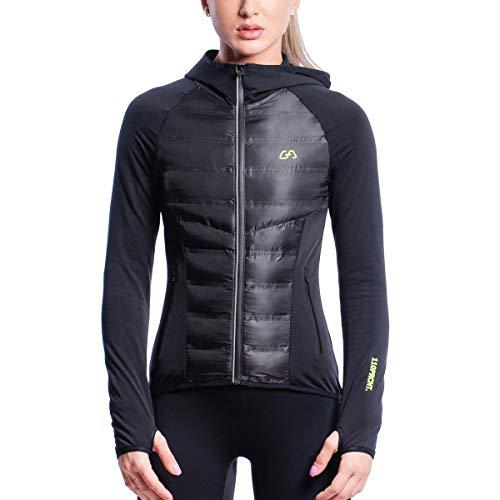 GYM AESTHETICS | Damen Ultrasonic 2.0 Trainingsjacke Wasserdicht Warm Ultraleicht mit Reißverschluss, Training und andere Sport in Schwarz (XS)