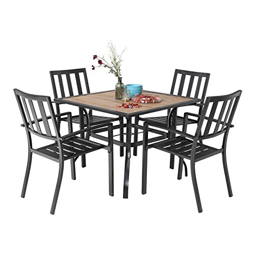 MFSTUDIO 5 Piece Patio Dining Set Metal Patio Armrest Dining Stackable Chairs and Larger Square Table Set, 37' Square Bistro Table and 4 Backyard Garden Chairs - Umbrella Hole 1.57'