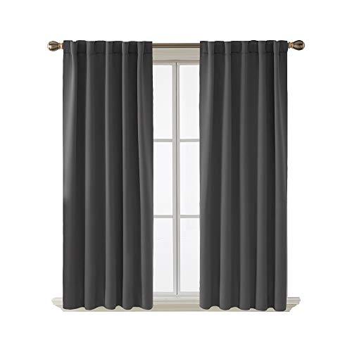 Deconovo Back Tab and Rod Pocket Short Blackout Curtains for Kitchen Window Room Darkening Drapes 42x54 Inch Dark Grey 2 Panels