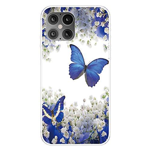 """Nadoli Transparent Silikon Hülle für iPhone 12 Pro Max 6.7"""",Durchsichtig Klar Lustig Kreativ Leicht Dünn Weiche Stoßfest Handyhülle Schutzhülle mit Weiß Blume Muster"""