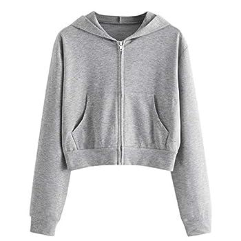COOKI Crop Hoodies Women s Basic Zip-Up Pullover Hoodies Long Sleeve Cropped Sweatshirts Teen Girls Crop Tops Sweater Shirts