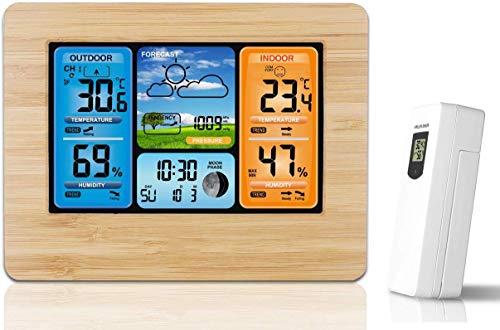 MJJJI weerstation voor kleurenschermen, RF-sensor voor binnen en buiten, draadloos weerstation, 6-vriendelijk weerbericht, alarmklok, kalender, maanfase