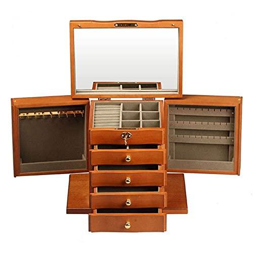 JIANGCJ Bonita caja de madera de gran capacidad para joyero, vintage, con espejo y cerradura multiusos