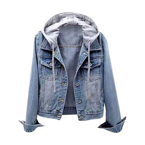 Lulupi Jeansjacke Damen Übergangsjacke Denim Jacket Abnehmbarer Kapuze Slim Fit Jeans Jacke Kurz Sommerjacke Frühling Herbst