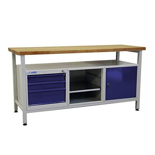 ADB Werktisch Werkzeugtisch Werkbank Werkstatt Arbeitstisch 1700x600x840 mm mit 3 Schubladen Werkstatteinrichtung Zubehör Werkstatt ohne Rollen