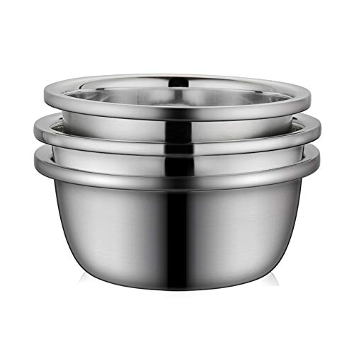 (Set of three) Stainless Steel Mixing Bowls, 304 Food Grade Soup Basin, Multifunctional Basin, Kneading and Baking, 24/26/28cm (Size : 3-piece set(28/30/32cm))