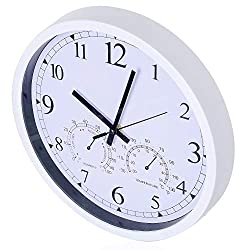 Tiords 12 inch Decorative Silent Non-Ticking Indoor Wall Clock with Temperature Humidity, Chrome Clock for Living Room Kitchen Office