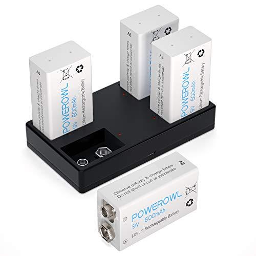 POWEROWL 9v Block Akku mit Ladegerät 4 Slot Li-Ionen 600mAh 9 Volt Blockbatterie Lithium Batterie Wiederaufladbar Batterien geringe Selbstentladung für 10 Jahres Rauchmelder 4er Pack