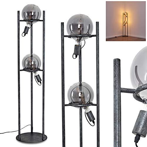 Stehlampe Boschoord, Vintage Stehleuchte aus Metall/Glas in Schwarz/Grau, 2-flammig, 2 x E27-Fassung, max. 60 Watt, Leuchte im Retro/Vintage-Design m. Fußschalter am Kabel, LED geeignet