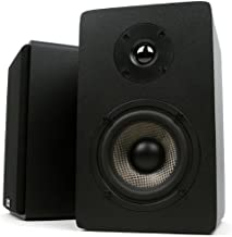 Micca MB42X Bookshelf Speakers with 4-Inch Carbon Fiber Woofer and Silk Dome Tweeter (Black, Pair)