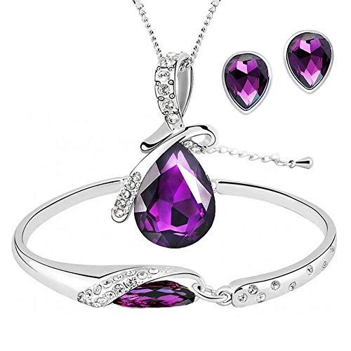 ISAACSONG.DESIGN Silver Tone Healing Crystal Rhinestone Drop Pendant Necklace, Bracelet, Earring Set for Women (Purple)