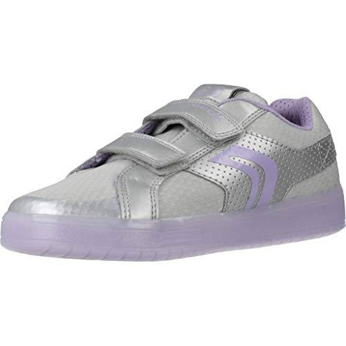 Geox Mädchen J KOMMODOR Girl C Sneaker, Silber (Silver/Lilac C1316), 34 EU