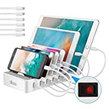 allcaca Station de Charge avec commutateur Chargeur USB Multiples 6 Ports Chargeur USB Support de Charge pour Apple iPhone iPad Samsung Smartphones Tablettes, 6 câbles Inclus, Blanc