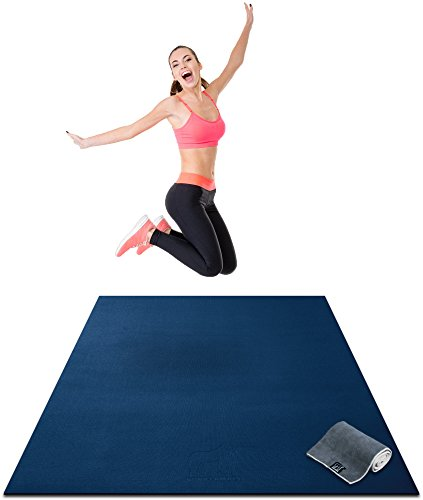 Premium Large Exercise Mat - 6' x 4' x 1/4' Ultra Durable, Non-Slip, Workout Mats for Home Gym Flooring - Plyo, HIIT, Jump, Cardio Mat - Use With or Without Shoes (183cm Long x 122cm Wide x 6mm Thick)
