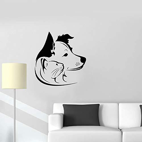 Katze Hund Wandaufkleber Tierhandlung Familie Tier Vinyl Fenster Aufkleber Familie Dekoration Tierklinik Nettes Wandbild 42 * 44cm