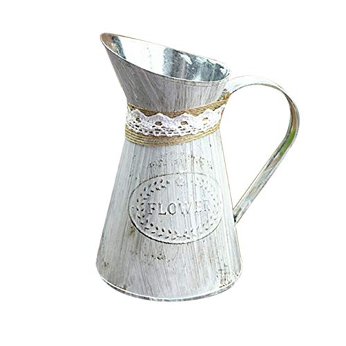 Jarra de metal de estilo vintage francés jarra chic flower jarrón de flores zinc rústico