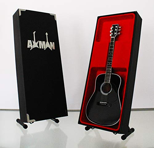 Miniature Guitar replica: Johnny Cash chitarra acustica d-35–modello Mini Rock memorabilia replica in miniatura in legno nero & Free espositore (venditore UK)