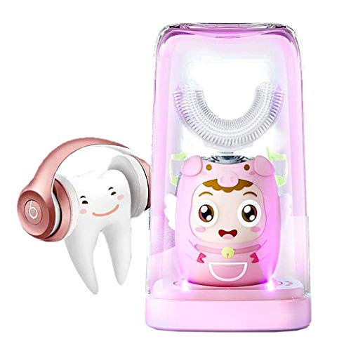 JXM U-Type Elektrische Zahnbürste Kinder Sonic Zahnbürste IPX7 Wasserdicht 360 ° Mundreinigung Kabelloses Laden Mit UV-Desinfektion Mundhygiene Für Kleinkinder & Kinder (2-12 Jahre),Rosa