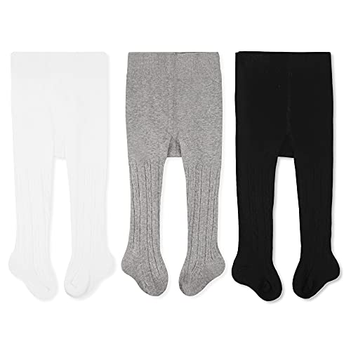 Product Image of the CozyWay Baby Girls Tights Cable Knit Leggings Stockings Cotton 1/3/4/5 Pack...