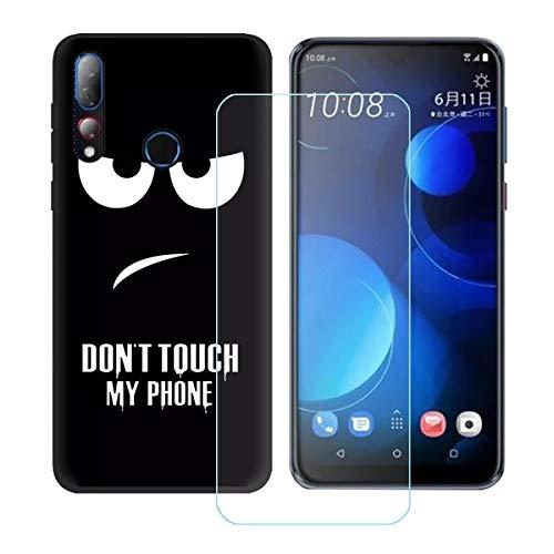DQG Panzerglas + Hülle für HTC Desire 19 Plus,Transparent Cover TPU Handyhülle Silikon Tasche Hülle Schutzhülle - HD Schutzfolie Anti-Fall Bildschirmschutzfolie für (6.2