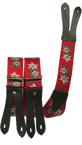Harrys-Collection Hosenträger mit Knopfloch Edelweiss, Farben:rot, Größen:120 cm