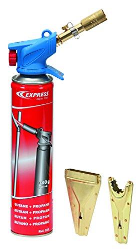 Express 531 Décapeur Thermique Soudure-Chalumeau Oxygène Souder-Lamp Multifonction avec Lance Enveloppante, Dard et à Flamme Plate + Cartouche de Gaz, Aucune