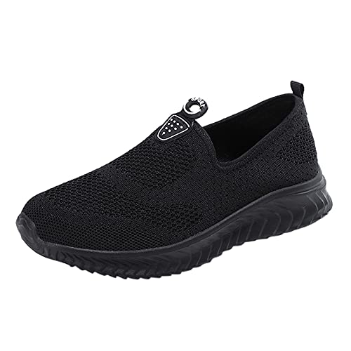 URIBAKY - Zapatillas deportivas de color liso de malla para mujer, transpirables, transpirables, suaves y cómodas, para exteriores, fitness, senderismo, Le Noir, 37 EU
